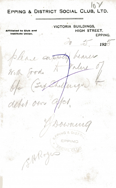 Misc Epping Social Club supply goods letter signed Downing _ Rogers 20 May 1925 001