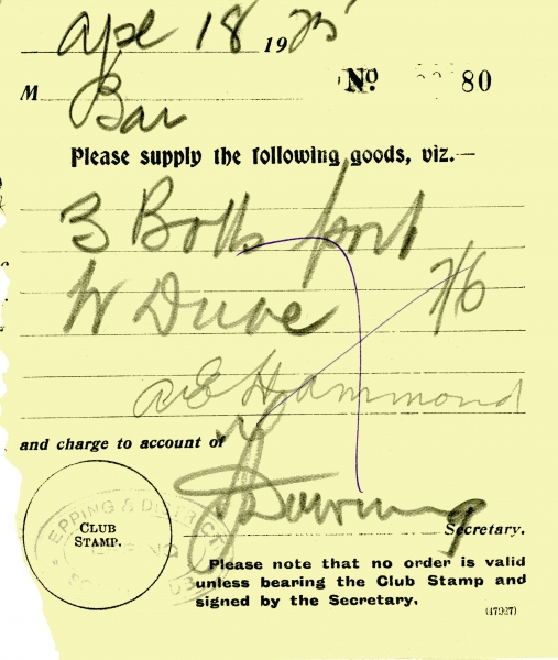 Misc Epping Social Club supply goods signed A E Hammond _ Downing 18 April 1925 003