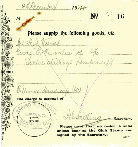 Misc Epping Social Club supply goods signed H E Snelling 4 Dec 1924 001