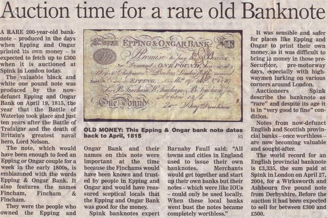 Epping and Ongar Bank Note