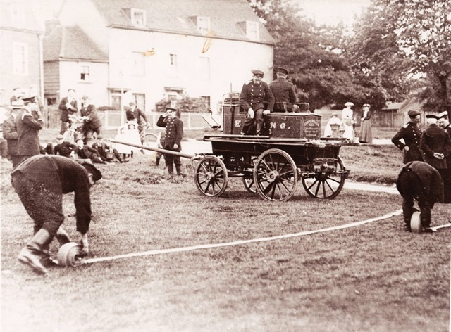 Fire Brigade Drill on the Green opposite the Wesleyan Church c.1908