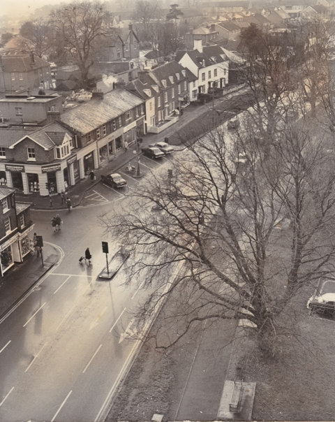 169 High Street looking south from St Johns Church Tower Copped Hall Florists Hayfair Drug Store  Stuart Turner  1974 13