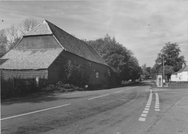 Coopersale Street Epping number 22 17th Century Tithe Barn and phone box  Stuart Turner  1975 68